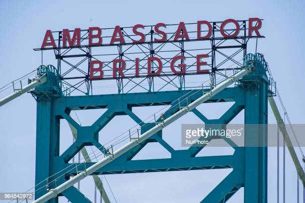 The Ambassador Intentional Bridge is seen from the Canadian side of the Detroit River on May 25 2018 in Windsor Ontario Canada 15000 vehicles make...