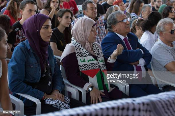 The Ambassador of Palestine Musa Amer Odeh seen sitting listening to Ahed Tamimi during the tour Ahed Tamimi on her European tour during the Spanish...