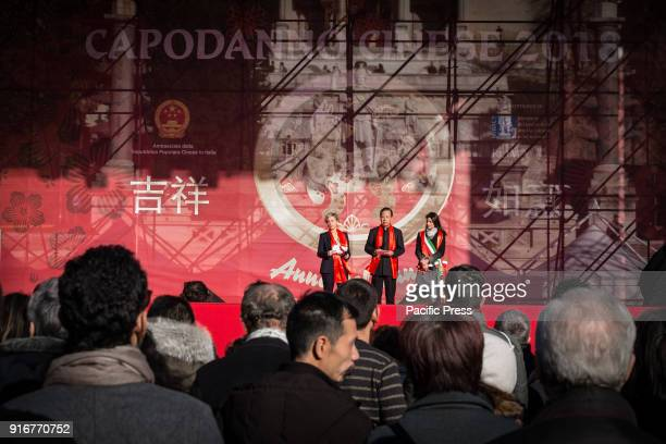 The Ambassador of the People's Republic of China Li Ruiyu with the Mayor of Rome Virginia Raggi during the Chinese community of Rome celebrated the...