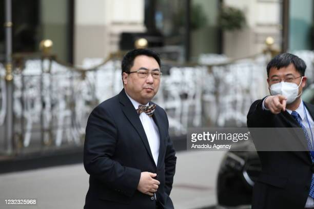 The ambassador of the Permanent Mission of the People's Republic of China to the United Nations, Wang Qun, speaks to press after attending the...
