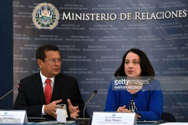 The ambassador of the United States to Salvador Jean Elizabeth Manes and Salvador's Foreign Minister Hugo Martinez offer a press conference at the...