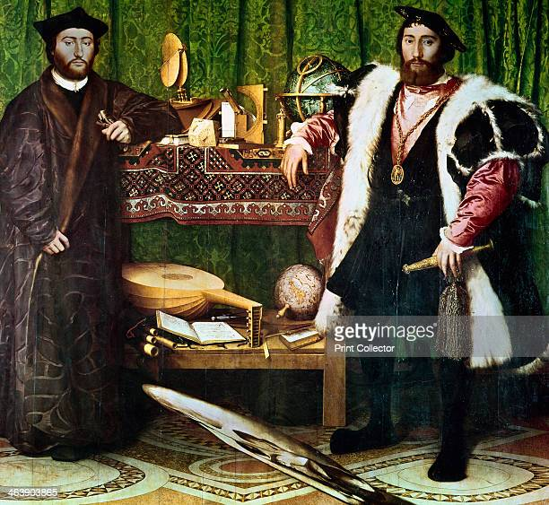 'The Ambassadors' 1533 Double portrait by Hans Holbein of Jean de Dinteville and Georges de Selve In the foreground is a distorted skull representing...