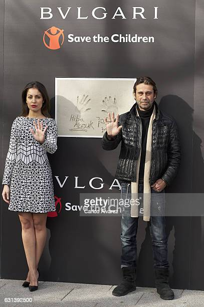 The ambassadors of BvlgariSave the Children actors Jordi Molla and Hiba Abouk visit for the first time the works of the new center for children at...
