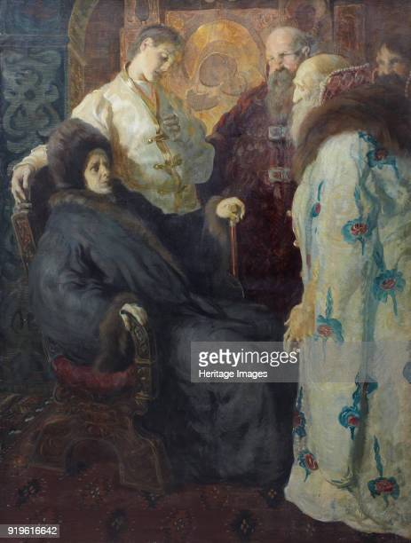 The ambassadors of the Zemsky Sobor trying to convince the nun Marfa that her son Mikhail Feodorovich Romanov should accept the Private Collection