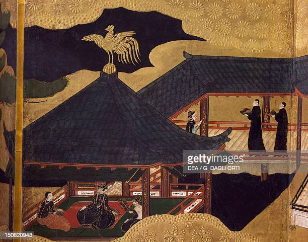 The ambassador's reception detail of byobu depicting scenes from the 12th century Gempei war Japan Tosa School Edo Period early 17th century