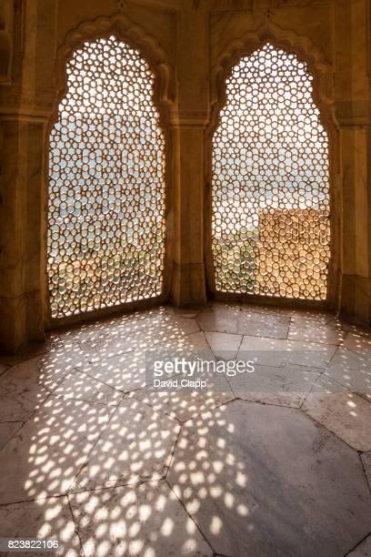 the amber fort, jaipur, rajasthan, india - amber fort stockfoto's en -beelden