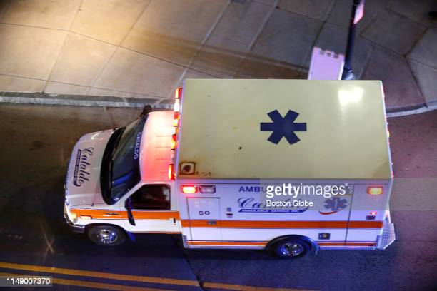 The ambulance carrying former Boston Red Sox player David Ortiz from Boston Logan International Airport arrives at Massachusetts General Hospital in...