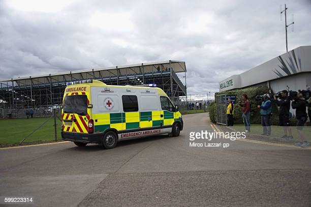 The ambulance with Loris Baz of France and Avintia Racing arrives in medical center after crashed out during the MotoGP race during the MotoGp Of...