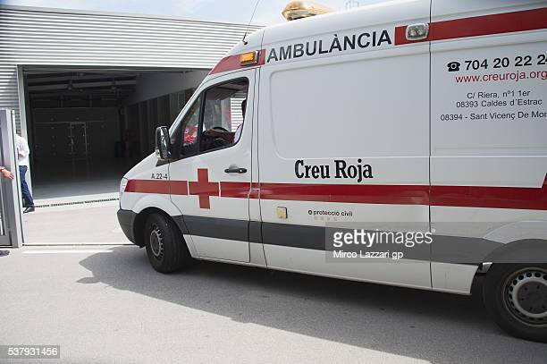 The ambulance with Luis Salom of Spain and SAG Team arrives in medical center after the crashed out during the free practice during the MotoGp of...