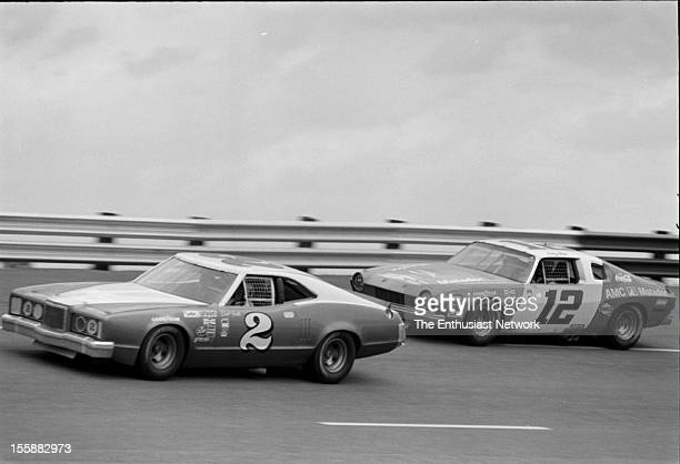 The American 500 Rockingham Speedway North Carolina Race 29 in the Winston Cup series Dick Trickle's Mercury ahead of Bobbie Allison's AMC Matador...