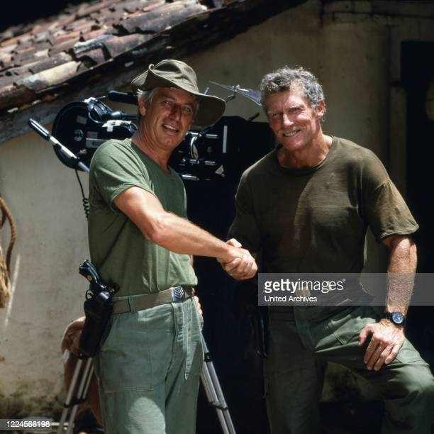 The american actor Brad Harris together with the german actor Siegfried Rauch in the set for 'Death Stone', Sri Lanka 1986.