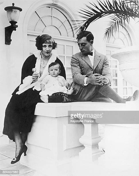 The American actor Buster Keaton with his son Buster Keaton Jr and his sister in law the actress Constance Talmadge 1923 in United States