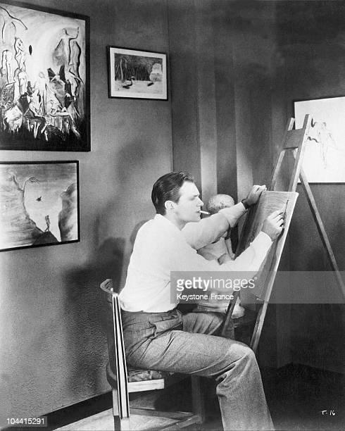 The American actor Douglas FAIRBANKS junior painting in 1931.