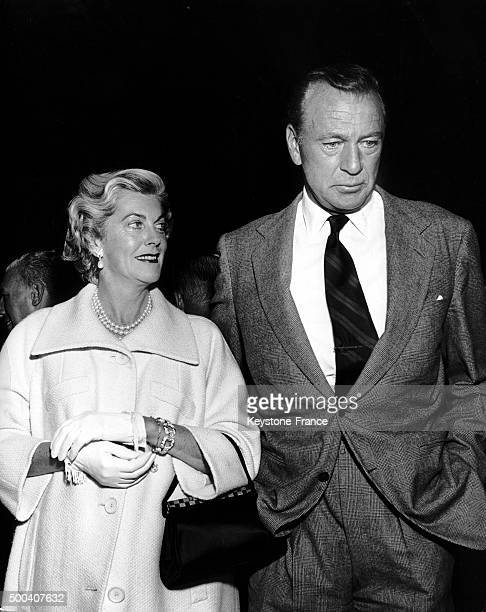 The American actor Gary Cooper and his wife Veronica, one of the most famous couple of Hollywood on June 2, 1959 in United States.