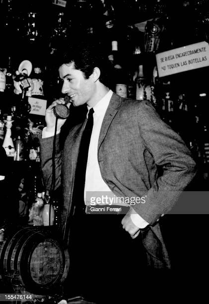 The American actor George Chakiris in the `Museum of Beverages' of Perico Chicote Madrid, Castilla La Mancha, Spain. .