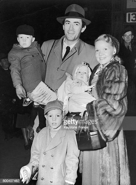 The American actor Gregory Peck and his wife Greta Kukkonen with their children Stephen, Jonathan and Carey, upon their arrival in London on January...