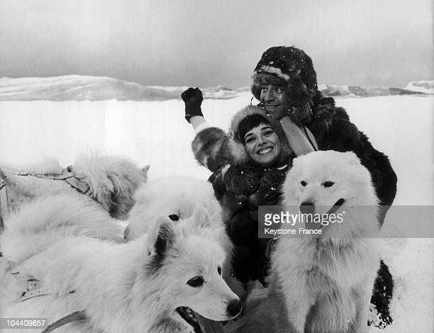 The American actor Jerry LEWIS and the leading lady British actress Jacqueline PEARCE pictured in an Antarctic scene during the shooting of Walter...