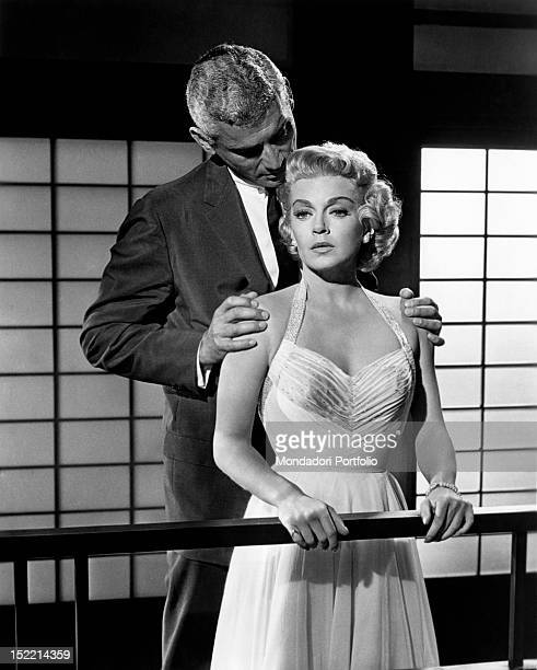 The American actors Lana Turner and Jeff Chandler acting in the film 'The Lady Takes a Flyer'. 1958