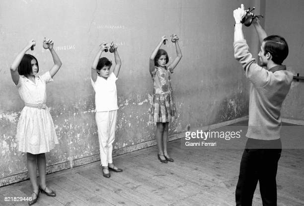 The American actress and singer Romina Power during a classe of dance Madrid Spain