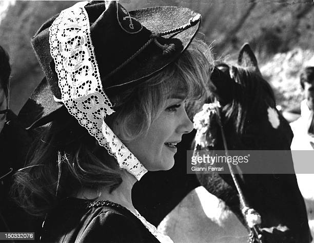 The American Actress Anne Baxter during the filming of the movie 'Las siete magnificas' directed by Gianfranco Parolini Almeria Spain