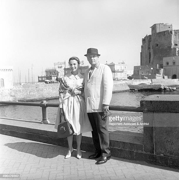 The American actress Claire Bloom with the American actor and husband Rod Steiger posing in front of Castel dell'Ovo the most ancient castle of the...