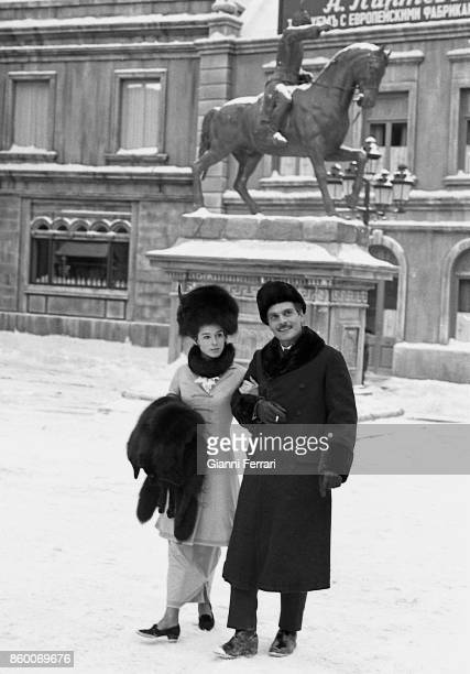 The American actress Geraldine Chaplin during the filming of Doctor Zhivago with the Egyptian actor Omar Sharif Madrid Spain