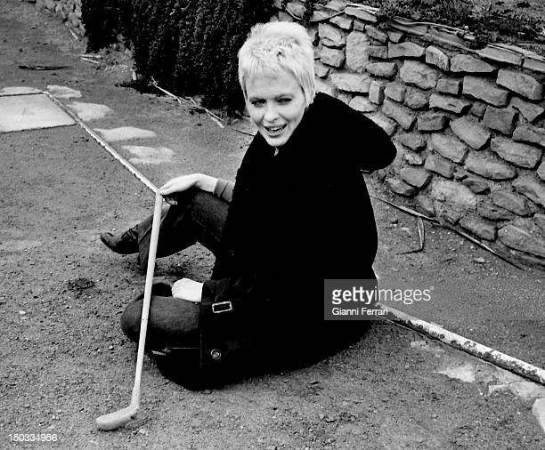 The American actress Jean Seberg playing minigolf Madrid, Spain.