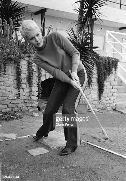 The American actress Jean Seberg playing minigolf Madrid Spain