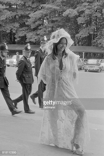 The American actress Linda Lovelace shows off her see through offwhite old fashioned lace outfit when she arrived for the second day of the Royal...