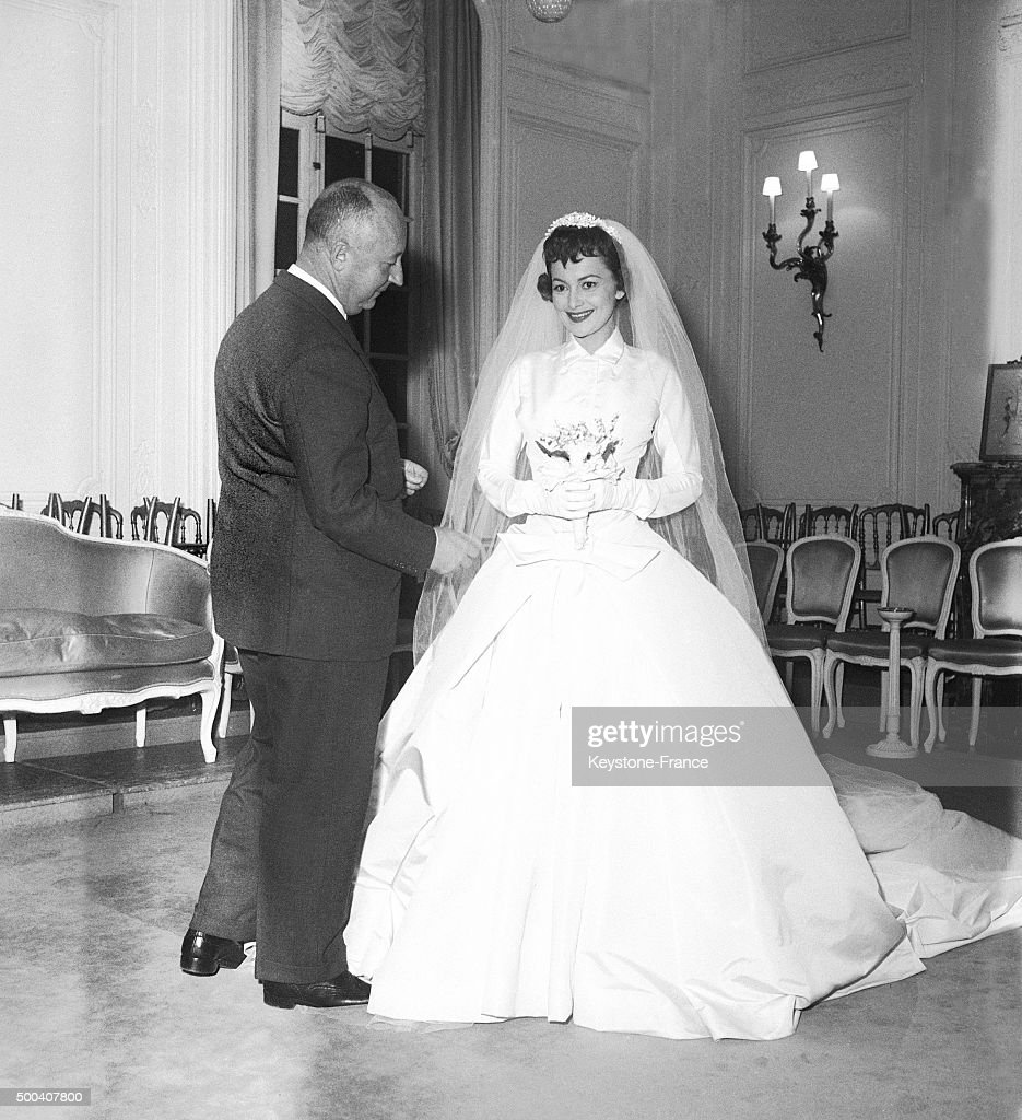 The American Actress Olivia De Havilland Wearing A Dior Wedding Dress For Film