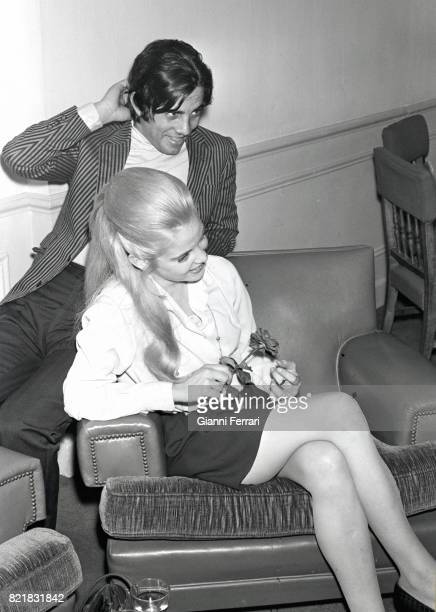 The American actress Sue Lyon with the Spanish actor Julian Mateos Madrid Spain