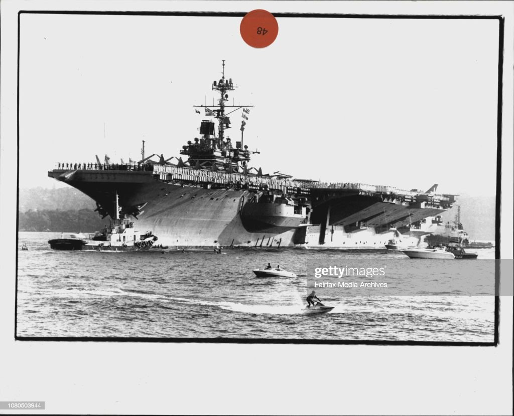 The American Aircraft carrier USS ranger enters Sydney