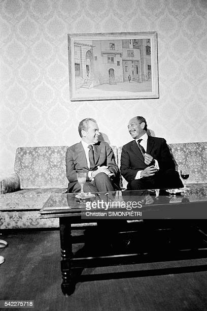 The American and Egyptian President Richard Nixon and Anwar al Sadat joke during a conversation They also discussed the problem of Palestine...