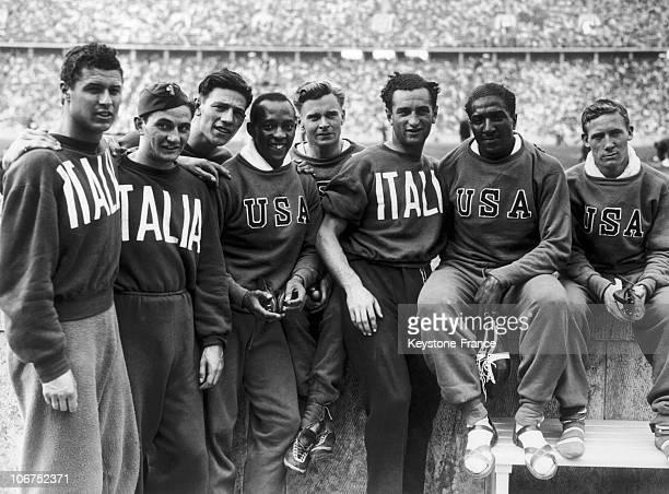 The American And Italian Runners Of The 4 X 100M Relay Teams Gianni Caldana Tullio Gonnelli Elio Ragni Jesse Owens Frank Wykoff Orazio Mariani Ralph...
