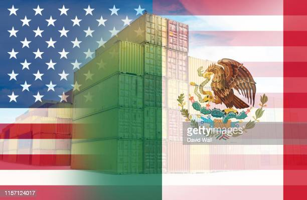 the american and mexican flags imposed over containers representing trade between the two countries. - free trade agreement stock pictures, royalty-free photos & images