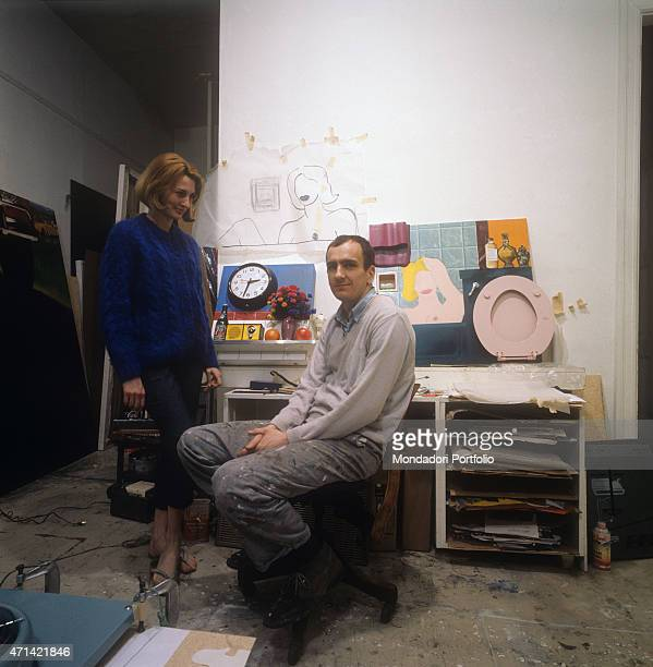 'The American artist Tom Wesselmann a Pop Art exponent with his wife Claire in his study 1964 '