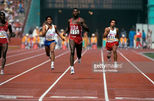 The American athlete Carl Lewis born Frederick Carlton Lewis runs in his lane during a game of the XXIII Olympics Los Angeles 1984