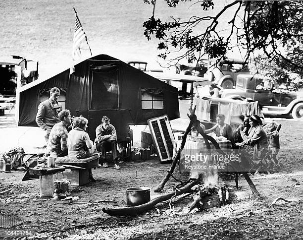 The American Aviation Couple Charles And Anne Lindbergh At An Encampment In The Northern Mountains Bear Lebec Where Colonel Charles Was Experimenting...