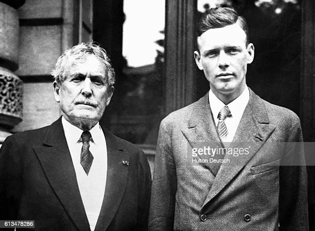 The American aviator Charles Lindeburgh after being presented with the Legion of Honour by the American Minister Myron Herrick , ca. 1927.