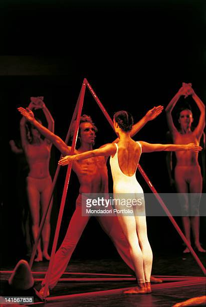 The American ballet dancer Shonach Mirk and the Argentine ballet dancer Jorge Donn performing a choreography of 'The magic flute' Venice July 1981