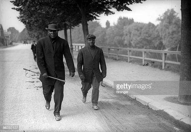 The American boxer Jack Johnson on the left Paris May 1914 BRA97257