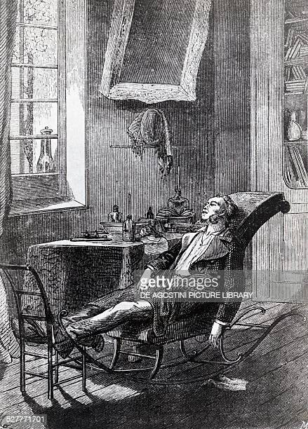 The American chemist Charles Jackson performing autoexperimentation with the anesthetic properties of ether 1843 engraving United States of America...