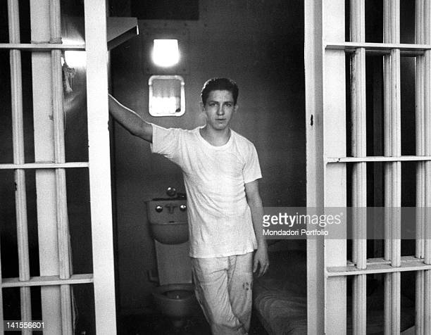 The American condemned to death for murder Thomas Franklin Caraway posing in his prison cell Houston July 1969