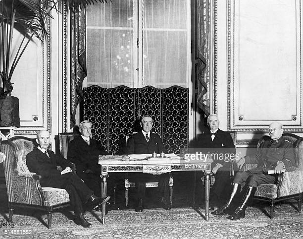 The American delegation at the Veraileles Conference. From left to right--House, Lansing, Wilson, Henry White, Gen. Bliss. Undated photograph.