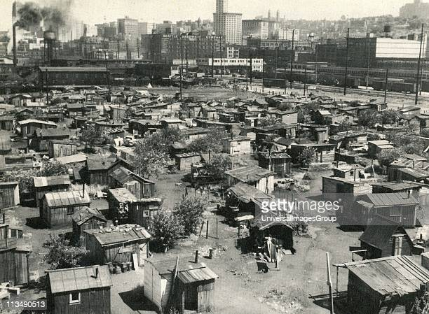 The American Depression 1930s Thousands of jobless lived in shanty towns nicknamed 'Hoovervilles' earning a few cents a day sorting bottles and cans...