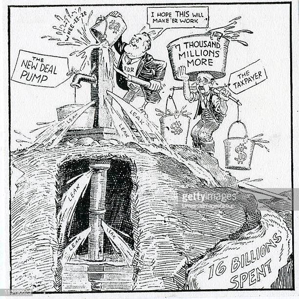 The American Depression 1930's. 'What We Need is a New Pump', cartoon on Franklin Delano Roosevelt's New Deal and the pump priming deficits. While...
