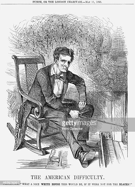 'The American Difficulty' 1861 Illustrating the worsening troubles between the North and the South in America President Abraham Lincoln stokes the...