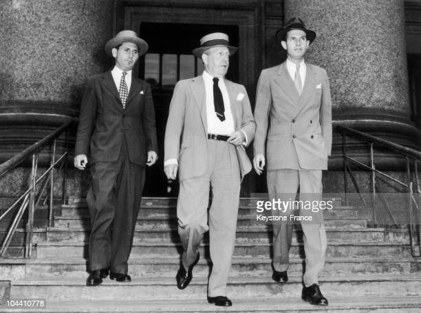 The American diplomat Alger HISS is leaving a New York court with his lawyer Lloyd Paul STRYKER and another lawyer He was an eminent diplomat who...