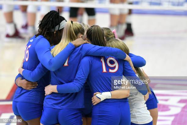 The American Eagles huddle before a women's college volleyball match against the Stanford Cardinals at Bender Arena on August 27 2018 in Washington DC