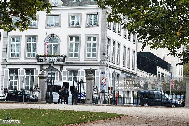 The American Embassy is being protected by Belgium policemen. The stars and stripes is half mast because of the killed US embassador last week in...